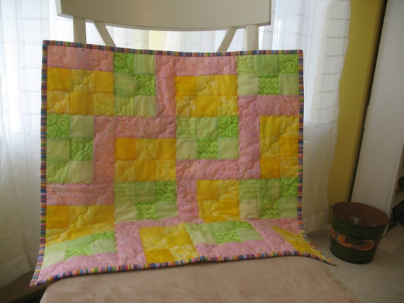 Pink Green Yellow Baby Girl Quilt