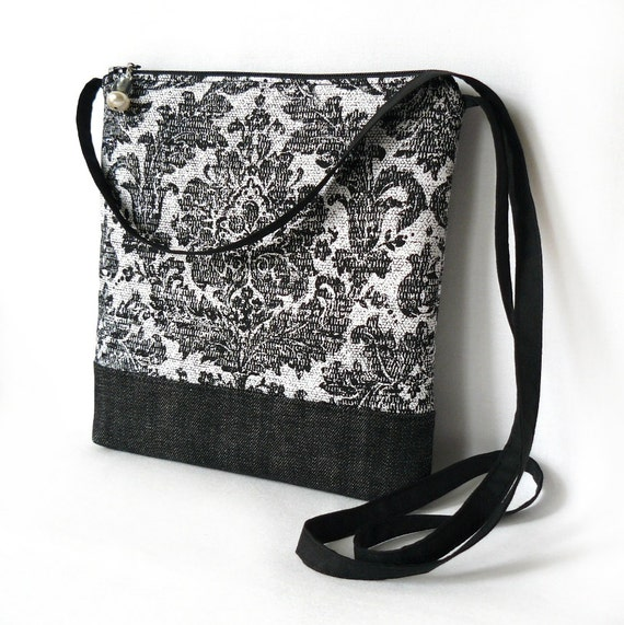 Crossbody Bag, Fabric Hip Bag, Pouch Purse - Shabby Damask in Black and White