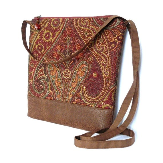Cross Body Bag, Fabric Hip Bag, Pouch Purse - Knightsford Tapestry in Red and Gold