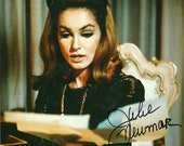 Julie Newmar, Catwoman Photo Still, Hand Signed Glossy In Vintage Leather Frame, Bat Man, Vintage Television, Retro