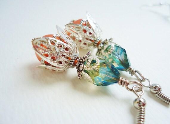 Teal Crystal & Orange Glass Pearl Silver Vintage Style Earrings