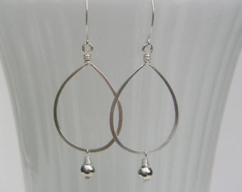 Sterling Silver Teardrop Hoop Earrings Long Beaded Hoop Dangles Oval Hoops Hammered Wire Jewelry Bridal Earrings Romantic Earrings