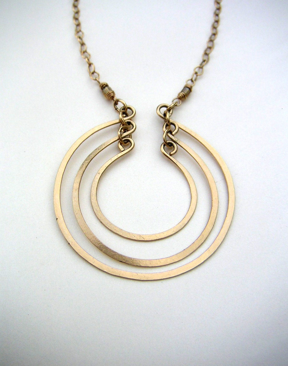 gold open circles necklace 3 circle pendant layered rings
