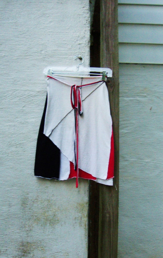 Womens Skirt/ White Stripes Tribute Skirt/ Red White and Black Upcycled t shirt Skirt