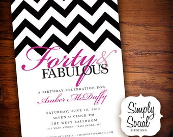 40th Birthday Party Invitation with Chevron