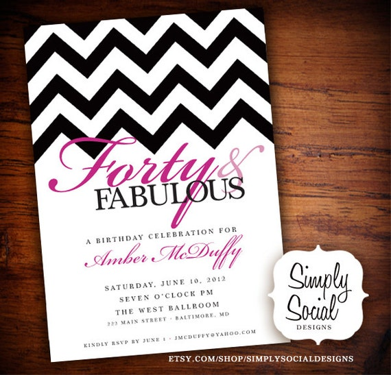 Items similar to 40th Birthday Party Invitation with ...