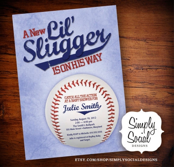 Little Slugger Baseball Theme Baby Shower Invitation