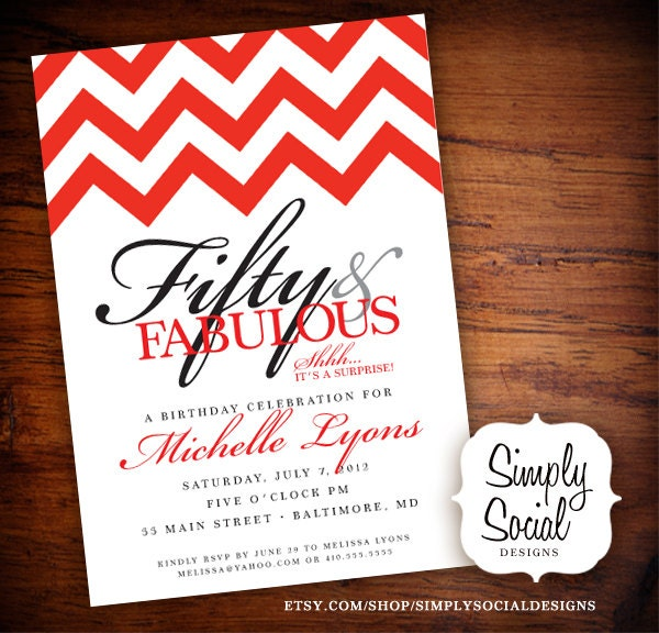 Surprise 50th Birthday Party Invitation With Chevron