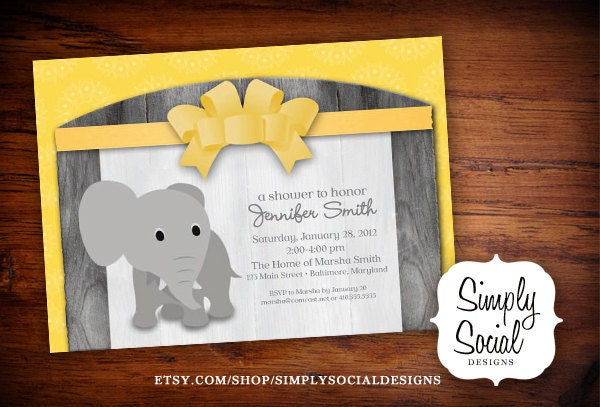 elephant theme baby shower invitation grey by simplysocialdesigns