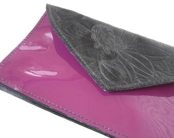 Purple Patent & Black Floral Leather Wallet