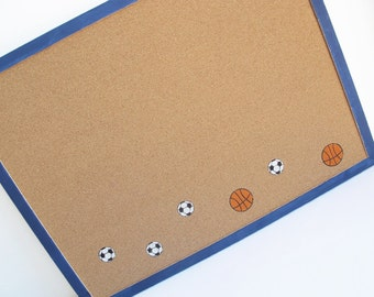Decorative Memo Cork Board- Sport theme, Soccer and basketball-  Blue hand painted message board, Bulletin Board for boys room