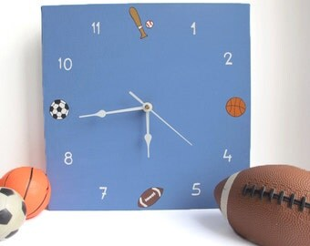 Children's clock- Sport clock for boys room ,Square clock, basketball, football, soccer, baseball Hand painted on canvas- nursery clock