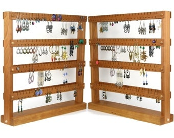 Cherry Double-SIded Earring Holder Stand, Country Wood Jewelry Display. Holds 192 pairs of Earrings.  Jewelry Holder - Jewelry Organizer.