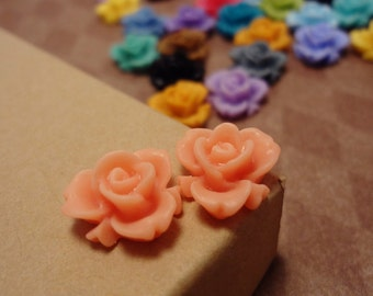 20pcs (Matte Coral Peach, Tangerine) Rainbow Iris Rose -CMVision Exclusive 11.5mm Resin Flower Rf05 06