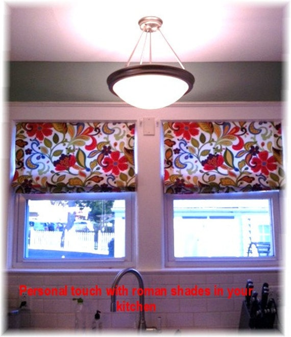 custom roman shades with your fabric. Black Bedroom Furniture Sets. Home Design Ideas