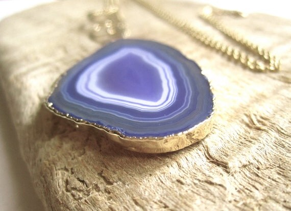 Purple Agate Geode Slice Necklace 14K Gold Fill Chain