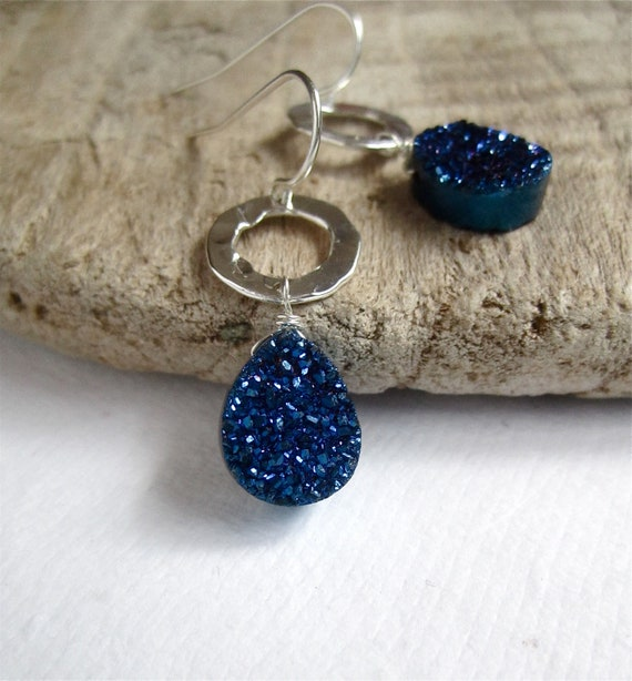 Blue Druzy Earrings Titanium Drusy Quartz Sterling Silver Drops