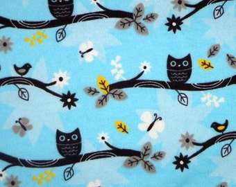 Owls Birds and Butterflies - 32 inches- Flannel Fabric