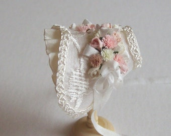 Handmade 1/12th scale dollshouse beautiful ivory silk bonnet