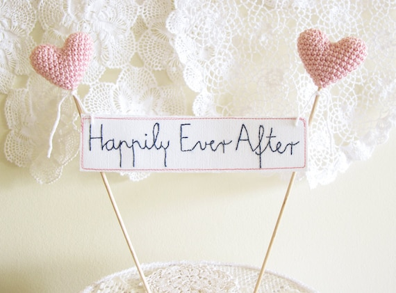 Wedding Cake Topper, Happily Ever After, Cake Banner Sign, Pink Wedding Cake Decor
