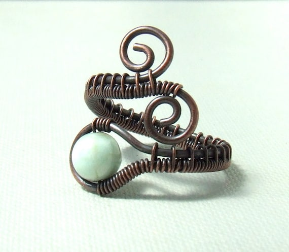 Larimar copper ring, mint rustic ring, dominican larimar natural stone jewelry