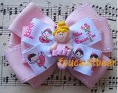 Multi-Layered Little Blonde Ballerina Ballet Dancer Girl Pink Hair Bow Barrette Clip M2M