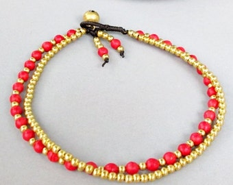 4 mm Red Coral Stone Brass Bead  Ankle Bracelet  A171