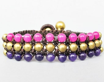 Mini Triple Row Macrame Bracelet with Pink Quartz and Amethyst Bead B185