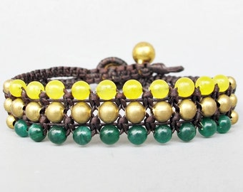 Mini Triple Row Macrame Bracelet with Jade and Quartz Bead B185