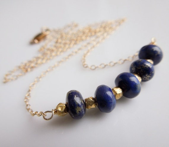Blue Lapis Lazuli Necklace with Gold Nugget Beads