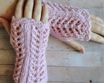 Womens Gloves, Fingerless Gloves, Soft Wool/ Bamboo Fingerless Gloves in Beautiful Pink Shabby Chic Winter Mittens Fashion Gloves