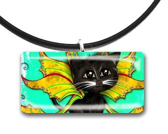 Aqua and yellow, Caribbean colors, Tropical kitty, Cat Fairy, Frixie named Blake, Black cat, Pixie, Fantasy art glass tile pendant