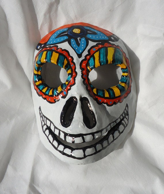 hand sculpted paper mache clay Sugar Skull, Day of the Dead, male Masquerade mask, dia de los muertos, costume