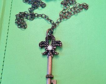Fleur de Lys Key Necklace