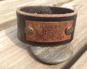 Hand stamped firefly leather cuff