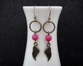 Brass Dreamcatcher Earrings with Angel Wing Charms and Fuchsia Agate Bead Accents