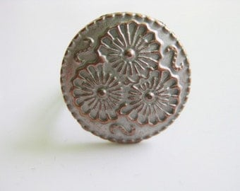 Antique Vintage Button Adjustable Ring