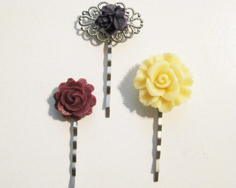 Pale Yellow Burgundy Maroon Deep Purple Floral Bobby Pin Set B-10