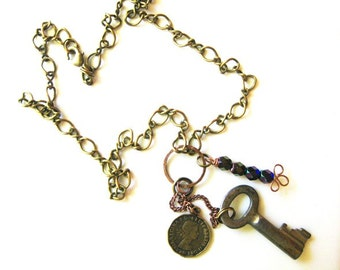 Bronze Charm Necklace with Mixed-Metal Charms B-2