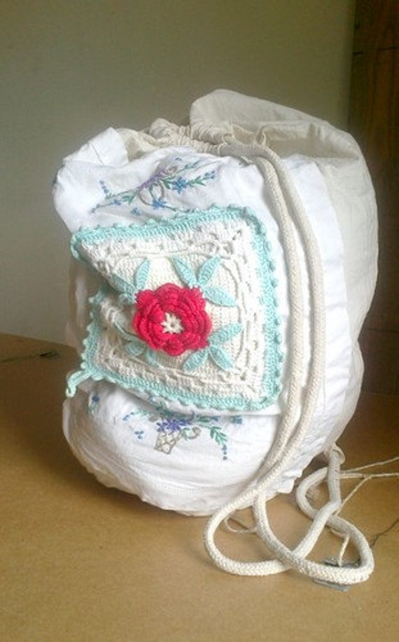 Vintage backpack. Upcycled. Decorated napkins. Replace extracted pillow