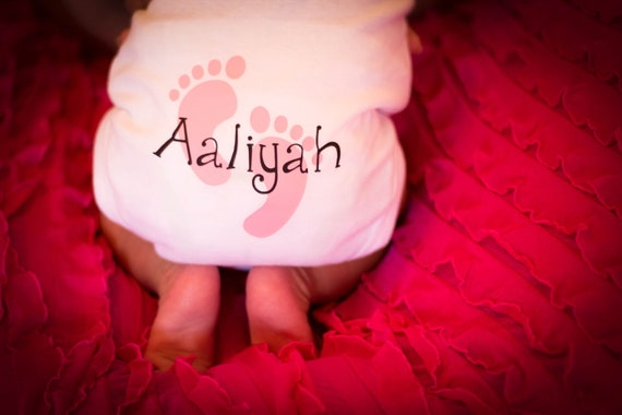 Footprint Onesie by The Walnut Street House, Infant Creeper Personalized with baby name
