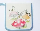 Vintage tally card mushrooms bunny, chipmunk and squirrel 1946 A-meri-card ephemera