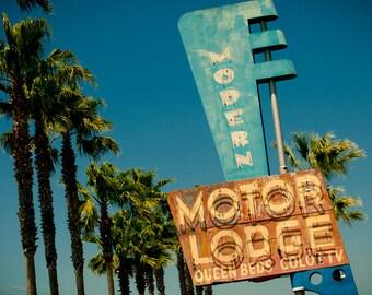 Modern Motor Lodge Art Deco Neon Sign - Historic Highway 99 - Lodi California - Road Trip - Retro Home Decor - Fine Art Photography