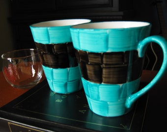 Mug Set Two's a Charm hand painted Teal and Black dishwasher safe