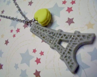 Paris Eiffel Tower Necklace with a little Macaroon
