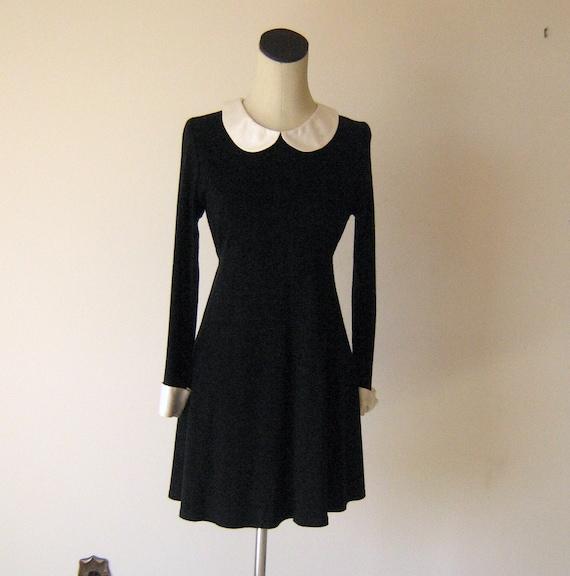 wednesday addams little black mod mini dress