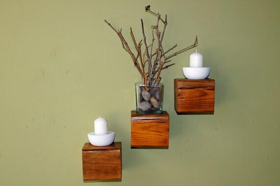 Reclaimed Wood Floating Cube Shelves - Set of 3