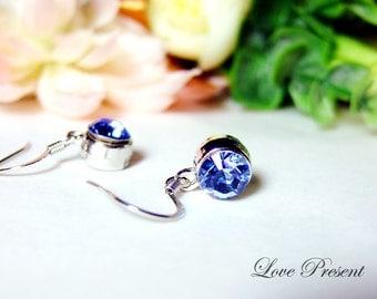 Bridesmaids Gifts - Swarovski Crystal Classic Dangle Hoop BirthStone Earrings - Choose your color