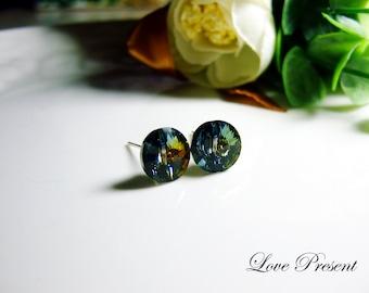 Supreme Swarovski Crystal Stud Button Chic Earrings - Pefect Gift. Everyday Jewelry - Color Sahara - Indigo/Blue/Yellow/Green shine