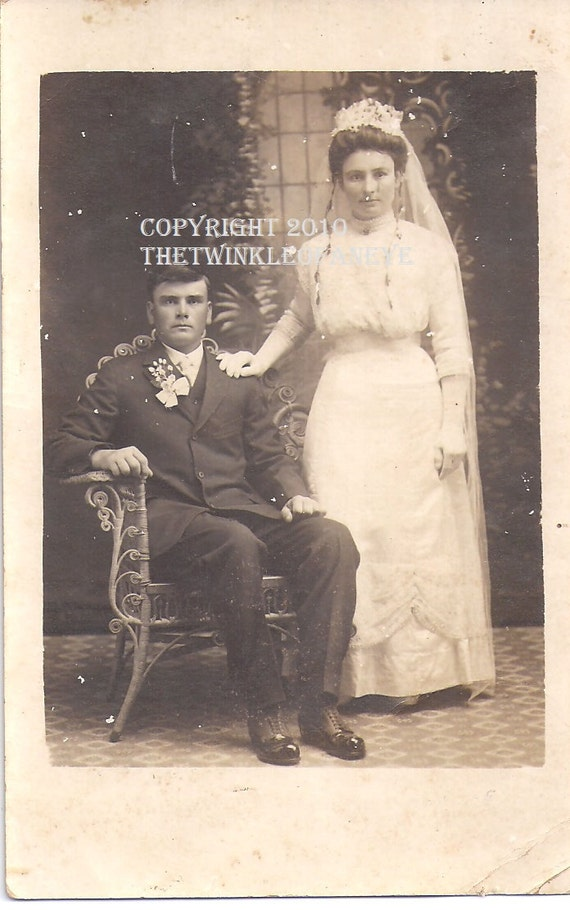 Lovely Couple, Victorian Wedding Photo, Real Photo Postcard,